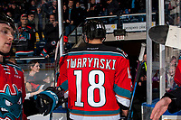 KELOWNA, CANADA - NOVEMBER 10: Carsen Twarynski #18 of the Kelowna Rockets exits the ice after scoring the OT winning goal against the Vancouver Giants on November 10, 2017 at Prospera Place in Kelowna, British Columbia, Canada.  (Photo by Marissa Baecker/Shoot the Breeze)  *** Local Caption ***