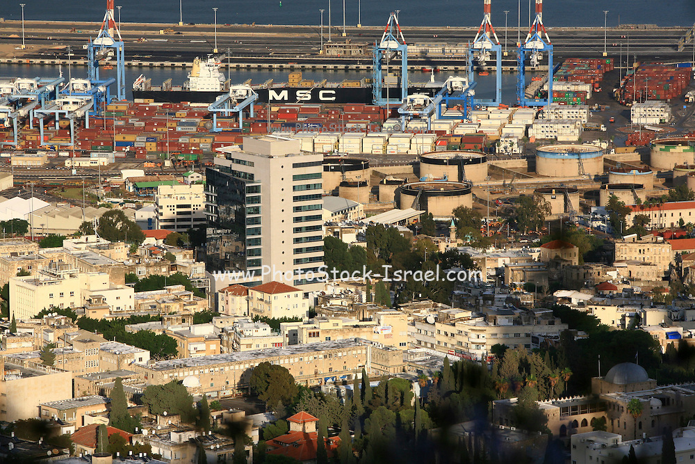 Israel, Haifa. View of Haifa port, Haifa bay and downtown. ..