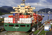 Container ship in a lock on the Panama Canal