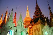 Shwedagon Pagoda with the moon and stars, Rangoon (Yangon), Burma (Myanmar)