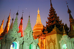 Shwedagon Pagoda with the moon and stars, Rangoon (Yangon), Burma (Myanmar)