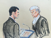 Johnson in witness box on left<br /> Questioned by his defending QC<br /> Orlando Pownall QC on right