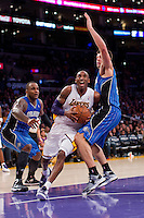 02 December 2012: Guard (24) Kobe Bryant of the Los Angeles Lakers drives to the basket against the Orlando Magic during the second half of the Magic's 113-103 victory over the Lakers at the STAPLES Center in Los Angeles, CA.