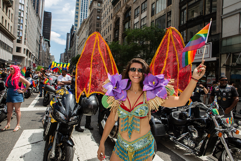 New York, NY - 25 June 2017. New York City Heritage of Pride March filled Fifth Avenue for hours with groups from the LGBT community and it's supporters. A woman at the head of the Sirens Motorcycle Club, a women's club, prior to the start of the parade. The women riders lead the march.