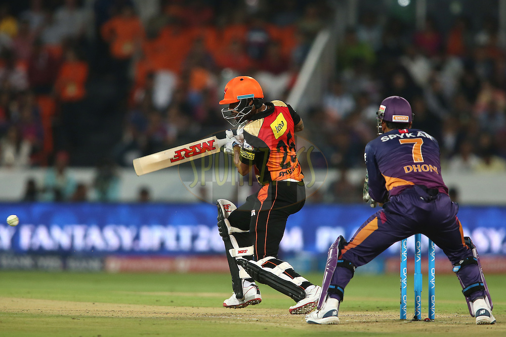 Shikhar Dhawan of Sunrisers Hyderabad square cuts a delivery during match 22 of the Vivo IPL 2016 (Indian Premier League) between the Sunrisers Hyderabad and the Rising Pune Supergiants held at the Rajiv Gandhi Intl. Cricket Stadium, Hyderabad on the 26th April 2016<br /> <br /> Photo by Shaun Roy / IPL/ SPORTZPICS