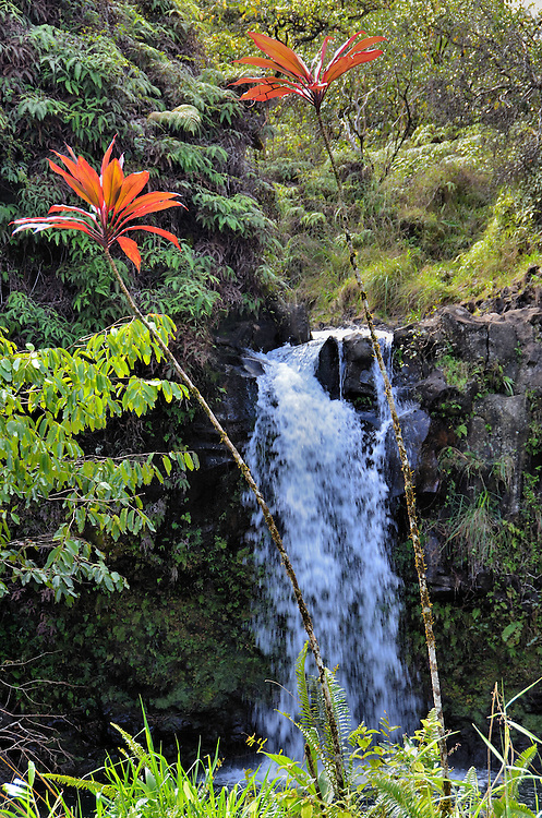 Pua&rsquo;a Ka&rsquo;a Falls along Hāna Highway, Maui, Hawaii <br />
