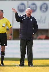 Dundee's manager John Brown.<br /> Dundee 1 v 1 Falkirk, Scottish Championship game at Dundee's home ground Dens Park.