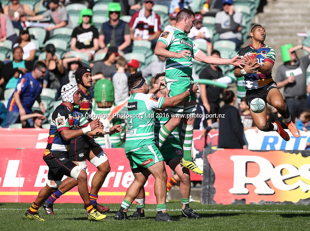Tevita Li of North Harbour  misses a high ball in the Mitre 10 Cup Rugby Match, North Harbour v Manawatu Turbos, QBE Stadium, Auckland, New Zealand, Saturday, September 10, 2016. Copyright photo: David Rowland / www.photosport.nz