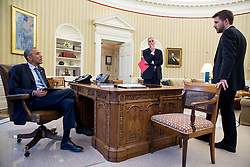 President Barack Obama meets with Chief of Staff Denis McDonough and Senior Advisor Brian Deese, right, in the Oval Office, April 21, 2015.  (Official White House Photo by Pete Souza)<br /> <br /> This official White House photograph is being made available only for publication by news organizations and/or for personal use printing by the subject(s) of the photograph. The photograph may not be manipulated in any way and may not be used in commercial or political materials, advertisements, emails, products, promotions that in any way suggests approval or endorsement of the President, the First Family, or the White House.