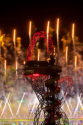 © Licensed to London News Pictures.12/08/2012 LONDON UK.The Mittal Orbit lit during the closing ceremony on the London2012 Olympic Games Photo credit : Andrew Baker/LNP