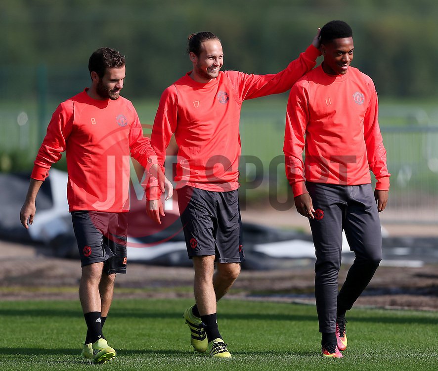 Juan Mata, Daley Blind and Anthony Martial of Manchester United - Mandatory by-line: Matt McNulty/JMP - 14/09/2016 - FOOTBALL - Manchester United - Training session ahead of Europa League Group A match against Feyenoord