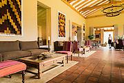 Lobby of Inkaterra Hacienda Urubamba, Sacred Valley, Peru.