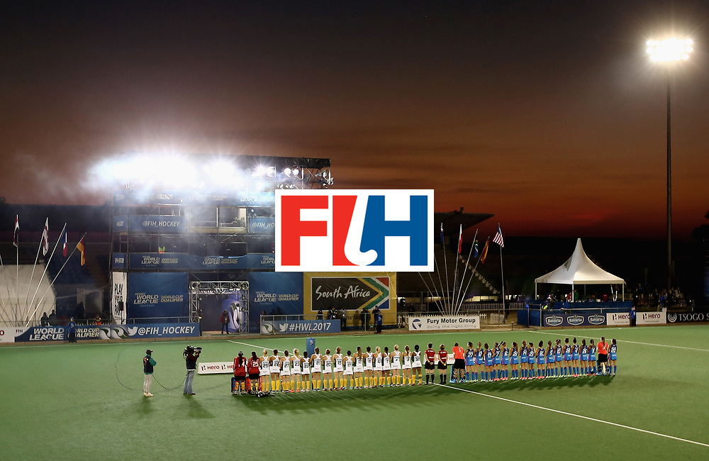 JOHANNESBURG, SOUTH AFRICA - JULY 12: South Africa and Argentina players line up for the national anthems prior to day 3 of the FIH Hockey World League Semi Finals Pool B match between South Africa and Argentina at Wits University on July 12, 2017 in Johannesburg, South Africa. (Photo by Jan Kruger/Getty Images for FIH)