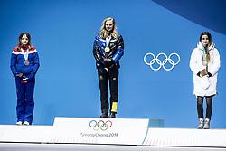 February 14, 2018 - Stockholm, Sweden - OS i Pyeongchang 2018 Stina Nilsson tar emot sin guldmedalj fÃ¥r 1:a-platsen i sprinten (Credit Image: © Orre Pontus/Aftonbladet/IBL via ZUMA Wire)