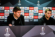 Rangers Manager Steven Gerrard & Jonathon Flanagan of Rangers during the Rangers Press Conference at Ibrox, Glasgow, Scotland on 3 October 2018. Picture by Colin Poultney.