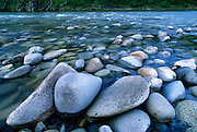 River polished rocks on shore of Salmon River, Frank Church River of No Return Wilderness Area, Idaho
