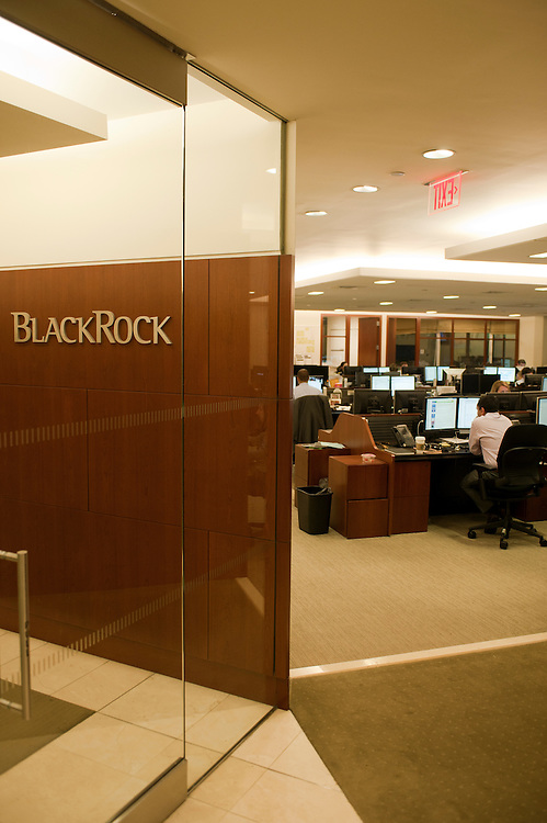 BlackRock Solutions department for Risk Management and Portfolio Liquidation...BlackRock headquarters on 52nd street in Manhattan, New York City..Blackrock is the world's largest money managing company. According to Fortune magazine 'With more than $3 trillion in assets, Larry Fink and his team at BlackRock are the world's largest money managers'.