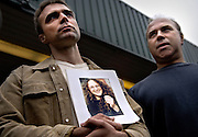 David (L) and Robert (R) Webb are asking attention for their missing sister Laura Webb (29) on Saturday July 9, 2005 at the Kings Cross station in London , England. Laura is missing since the bombings two days earlier on Thursday Juli 7.