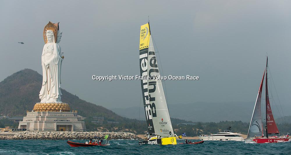February 8, 2015. Leg 4 Start; Dongfeng Race Team and Team Brunel
