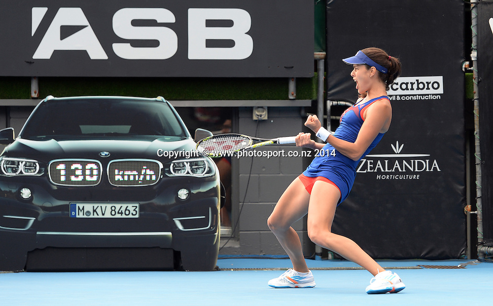 Serbia's Ana Ivanovic celebrates a point during the semi finals of the ASB Classic Women's International. ASB Tennis Centre, Auckland, New Zealand. Friday 3 January 2014. Photo: Andrew Cornaga/www.photosport.co.nz