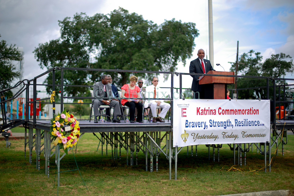 29 August 2014. Lower 9th Ward, New Orleans, Louisiana.<br /> Councilman James Gray speaks at the official memorial in remembrance of the day Hurricane Katrina swamped the community 9 years ago today..<br /> Photo; Charlie Varley/varleypix.com
