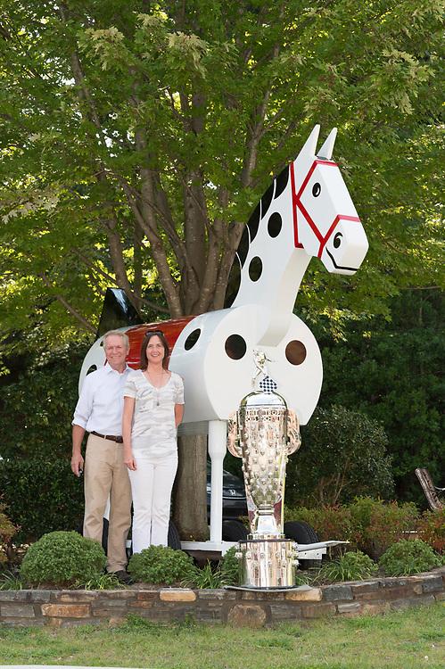 5 September 2017<br /> 2017 Indianapolis 500 winner Takuma Sato sitting for Borg-Warner Trophy bust at William Behrends studio. Tryon, North Carolina USA<br /> &copy;2017, Scott R LePage