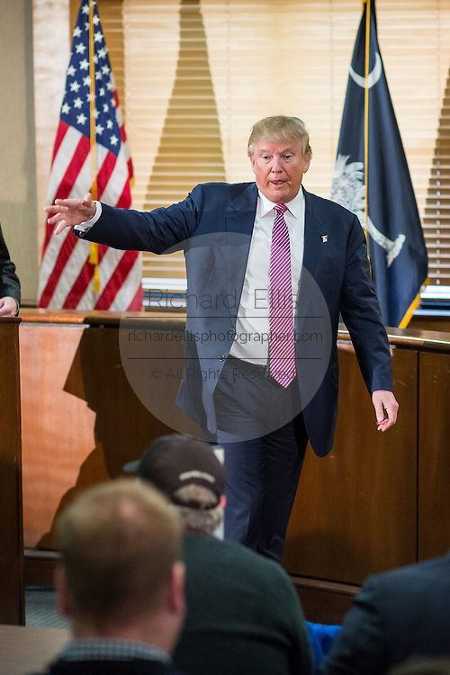 Republican presidential candidate billionaire Donald Trump ends a press conference February 15, 2016 in Hanahan, South Carolina.