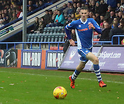 Scott Tanser during the Sky Bet League 1 match between Rochdale and Wigan Athletic at Spotland, Rochdale, England on 14 November 2015. Photo by Daniel Youngs.