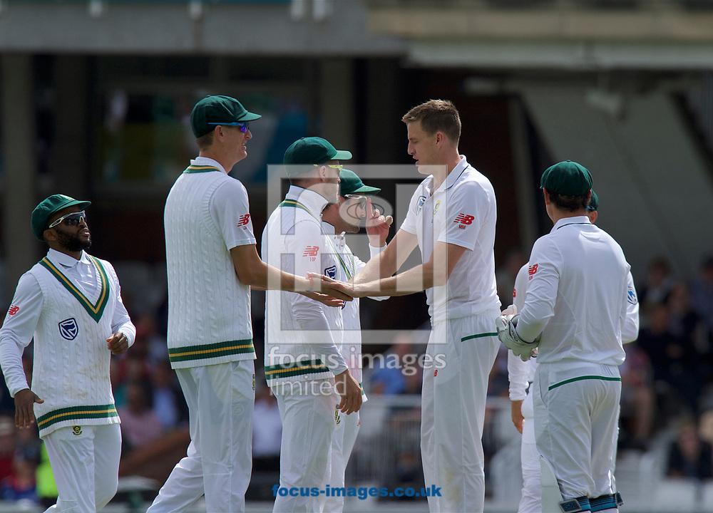 Morne Morkel of South Africa (2nd from right) celebrates taking the wicket of Alastair Cook of England who is given out for lbw during the 100th Investec Test Match match at the Kia Oval, London<br /> Picture by Alan Stanford/Focus Images Ltd +44 7915 056117<br /> 28/07/2017