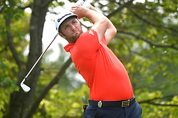 August 12, 2018 - St. Louis, Missouri, U.S. - ST. LOUIS, MO - AUGUST 12: Jon Rahm hits his shot on the #2 tee during the final round of the PGA Championship on August 12, 2018, at Bellerive Country Club, St. Louis, MO.  (Photo by Keith Gillett/Icon Sportswire) (Credit Image: © Keith Gillett/Icon SMI via ZUMA Press)