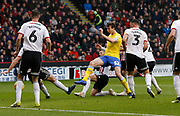 A shot by Leeds United defender Aapo Halme during the EFL Sky Bet Championship match between Sheffield United and Leeds United at Bramall Lane, Sheffield, England on 1 December 2018.
