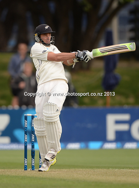 Tim Southee batting on Day 1 of the 2nd cricket test match of the ANZ Test Series. New Zealand Black Caps v West Indies at The Basin Reserve in Wellington. Wednesday 11 December 2013. Mandatory Photo Credit: Andrew Cornaga www.Photosport.co.nz