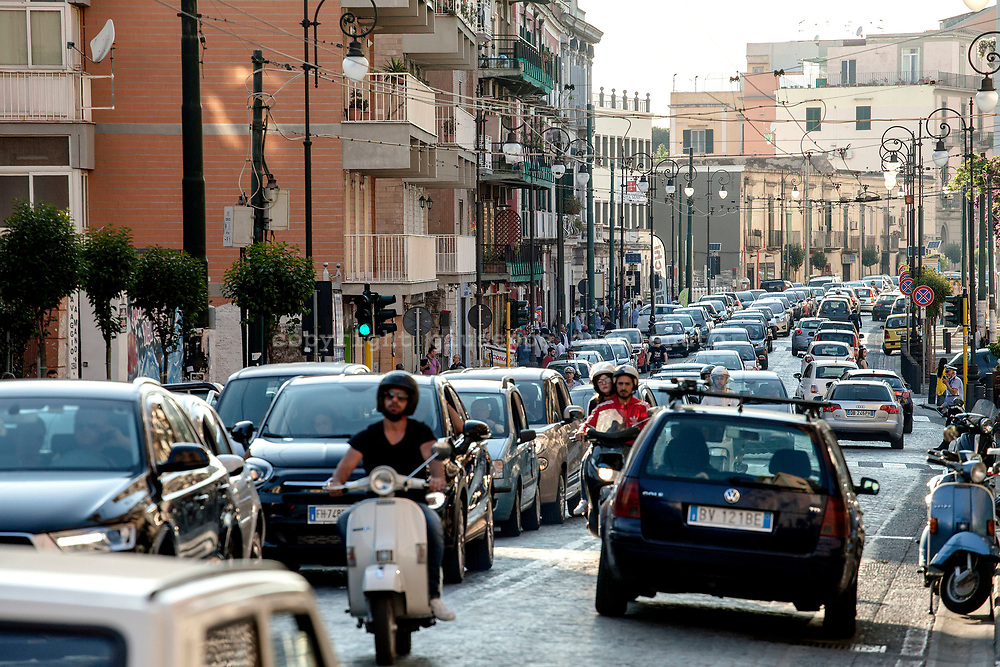 29 May 2017, Portici, Naples Italy - City traffic on Corso Garibaldi. This is the main road connection the city of Portici, with Naples and other cities around the Vesuvius. Portici is located in the red zone instituted by Italian Government for the national evacuation plan in case of eruption of the Vesuvio.