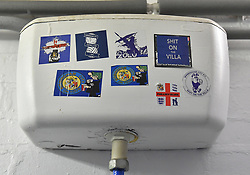 Stickers on the cistern in the toilets at St Andrews, home of Birmingham City