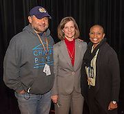 Former astronaut Bonnie Dunbar poses for a photograph with attendees during a Science, Technology, Engineering and Math (STEM) symposium at Chavez High School, November 15, 2014.
