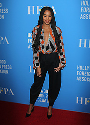 Hollywood Foreign Press Association's Grants Banquet - Arrivals. 09 Aug 2018 Pictured: Laura Harrier. Photo credit: Jaxon / MEGA TheMegaAgency.com +1 888 505 6342