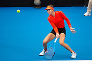 SYDNEY, NSW - JANUARY 07: Ajla Tomljanovic (AUS) hits a drop shot at The Sydney International Tennis on January 07, 2018, at Sydney Olympic Park Tennis Centre in Homebush, Australia. (Photo by Speed Media/Icon Sportswire)