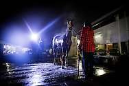 CYPRESS, CA - OCTOBER 27:  Television media swarms around California Chrome as he gets a bath after his final preparation for the Breeders' Cup Classic, working 6 furlongs in 1:12 1/5 seconds at Los Alamitos Race Track on October 27, 2016 in Cypress, California. (Photo by Alex Evers/Eclipse Sportswire/Getty Images)