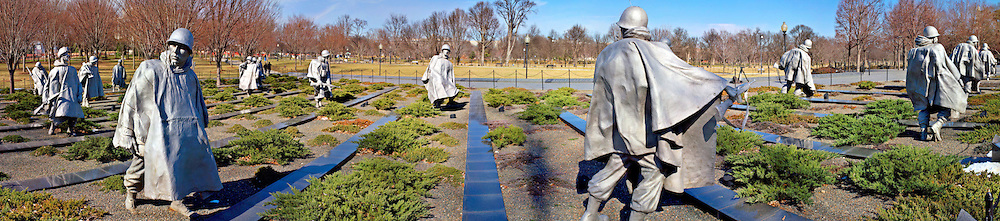 Panorama of Korean War Memorial, Washington DC Editorial Use Only.