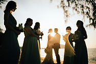 Dreamlike picture of a wedding ceremony at sunset in Ko Samui, Thailand, Southeast Asia
