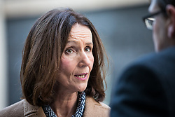 © Licensed to London News Pictures. 13/11/2017. London, UK. Carolyn Fairbairn, director-general of the Confederation of British Industry (CBI), speaks with journalists after a meeting between European business leaders and Prime Minister Theresa May on the future of UK-EU trade. Photo credit: Rob Pinney/LNP