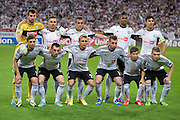 (UPPER ROW) Goalkeeper Dusan Kuciak &amp; Marek Saganowski &amp; Miroslav Radovic &amp; Dossa Junior &amp; Ivica Vrdoljak &amp; (DOWN ROW) Bartosz Bereszynski &amp; Michal Kucharczyk &amp; Jakub Rzezniczak &amp; Jakub Wawrzyniak &amp; Jakub Kosecki &amp; Dominik Furman (all from Legia) pose to team photo before the UEFA Champions League play-off second leg match between Legia Warsaw and FC Steaua Bucuresti at Pepsi Arena Stadium in Warsaw on August 27, 2013.<br /> <br /> Poland, Warsaw, August 27, 2013<br /> <br /> Picture also available in RAW (NEF) or TIFF format on special request.<br /> <br /> For editorial use only. Any commercial or promotional use requires permission.<br /> <br /> Photo by &copy; Adam Nurkiewicz / Mediasport
