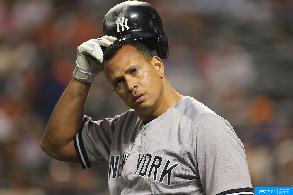 Alex Rodriguez, New York Yankees, prepares to pinch hit during the New York Mets Vs New York Yankees MLB regular season baseball game at Citi Field, Queens, New York. USA. 18th September 2015. Photo Tim Clayton