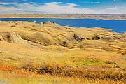 Grasslands and badlands around Lake Diefenbaker in autumn<br /> near Beechy<br /> Saskatchewan<br /> Canada