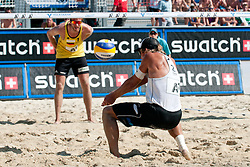 Daniel Hupfer of Austria and in background Sebastian Dollinger of Germany at A1 Beach Volleyball Grand Slam tournament of Swatch FIVB World Tour 2011, on August 3, 2011 in Klagenfurt, Austria. (Photo by Matic Klansek Velej / Sportida)