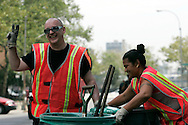 George O'Dowd popularly known as Boy George during his second day of community service in New York on Monday 14 August 2006. The former singer of the band Culture Club was ordered to spend five days working for the New York City Department of Sanitation after pleading guilty in March to falsely reporting a burglary at his lower Manhattan apartment; police found cocaine at the apartment.
