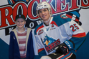 KELOWNA, CANADA - MARCH 03:  Home Hardware Stick Boy with Cal Foote #25 of the Kelowna Rockets at the Kelowna Rockets game on March 03, 2018 at Prospera Place in Kelowna, British Columbia, Canada.  (Photo By Cindy Rogers/Nyasa Photography,  *** Local Caption ***