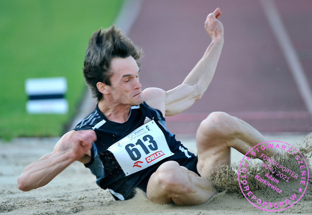 MICHAL LUKASIAK (POLAND) COMPETES IN MEN'S LONG JUMP COMPETITION DURING 56TH ATHLETIC MEMORIAL OF JANUSZ KUSOCINSKI 2010 IN WARSAW, POLAND...POLAND , WARSAW , JUNE 08, 2010..( PHOTO BY ADAM NURKIEWICZ / MEDIASPORT )