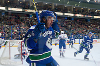 PENTICTON, CANADA - SEPTEMBER 16: Marc-Olivier Roy #57 of Vancouver Canucks celebrates a goal against the Edmonton Oilers on September 16, 2016 at the South Okanagan Event Centre in Penticton, British Columbia, Canada.  (Photo by Marissa Baecker/Shoot the Breeze)  *** Local Caption *** Marc-Olivier Roy;