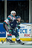 KELOWNA, CANADA - APRIL 25: Calvin Thurkauf #27 of the Kelowna Rockets stick checks Turner Ottenbreit #4 of the Seattle Thunderbirds on April 25, 2017 at Prospera Place in Kelowna, British Columbia, Canada.  (Photo by Marissa Baecker/Shoot the Breeze)  *** Local Caption ***